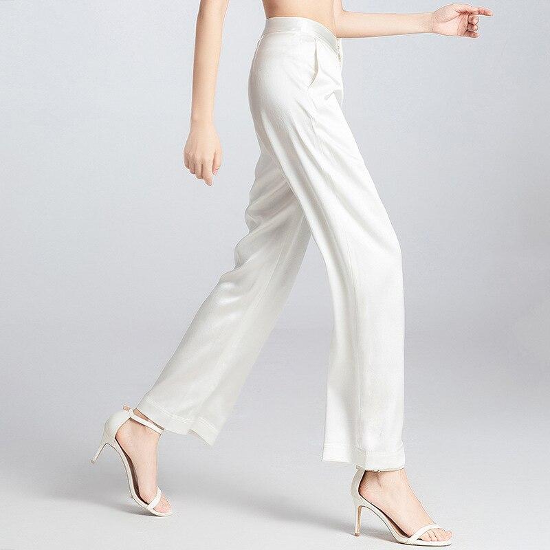 2019 femmes mode original design lourd soie large jambe pantalon femme 100% mûrier soie lâche pantalon droit été 190502