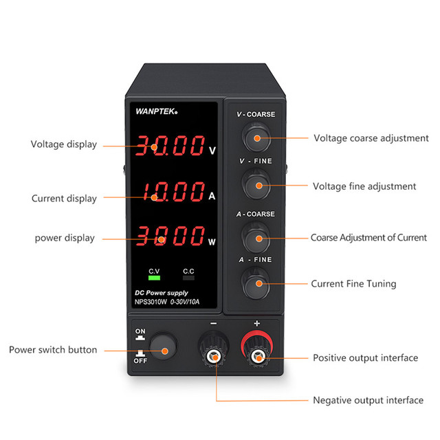 Wanptek Adjustable DC Laboratory 30V 10A Lab Power Supply Adjustable 60V 5A Voltage Regulator Stabilizer Switching Power Supply