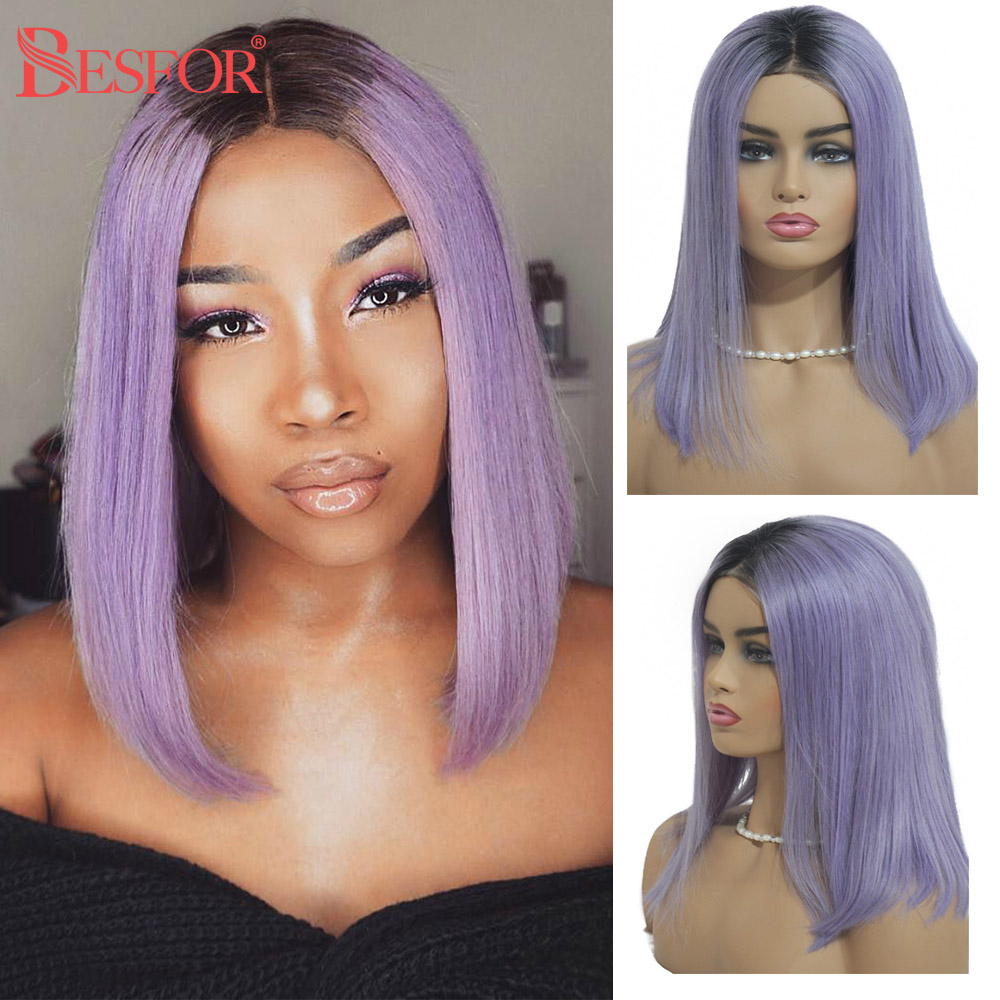 Short Straight Ombre Bob 1B Light Gray Purple 13*6 Lace Front Human Hair Wigs Real Virgin Brazilian Remy 1B Pink  Hair Wig