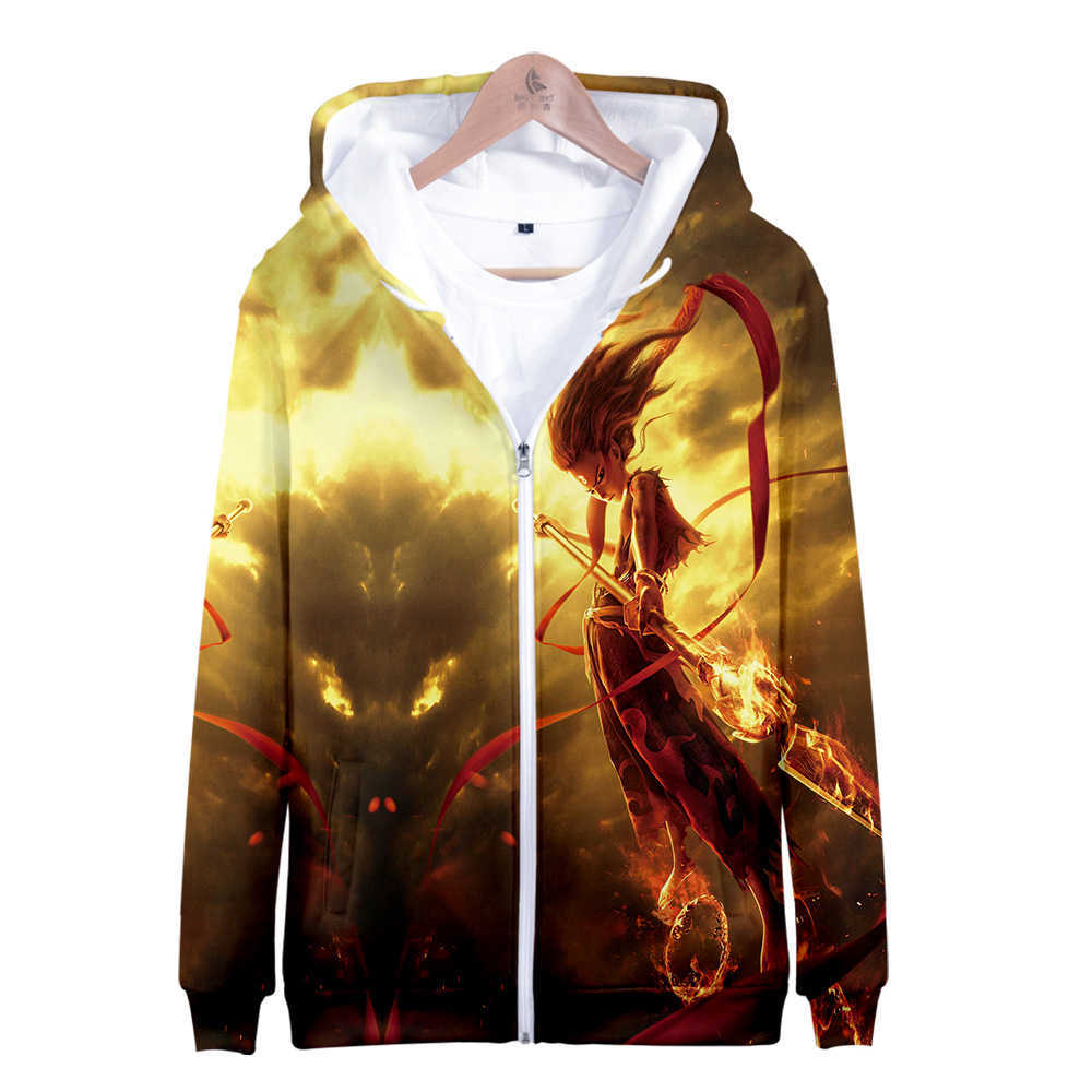 The Chinese Mythology 3D Cartoon NE ZHA Hoodies Sweatshirts Men Fashion Coats Zipper Tracksuit Cardigan Jacket Clothes Wholesale