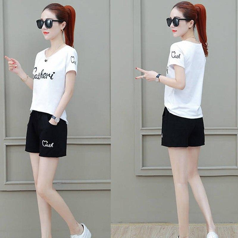 Two Piece Set Womens Summer Casual  Fashion Letter Printed Sleeve T Shirt + Pockets Fashion Shorts Loose Korean Female Sets