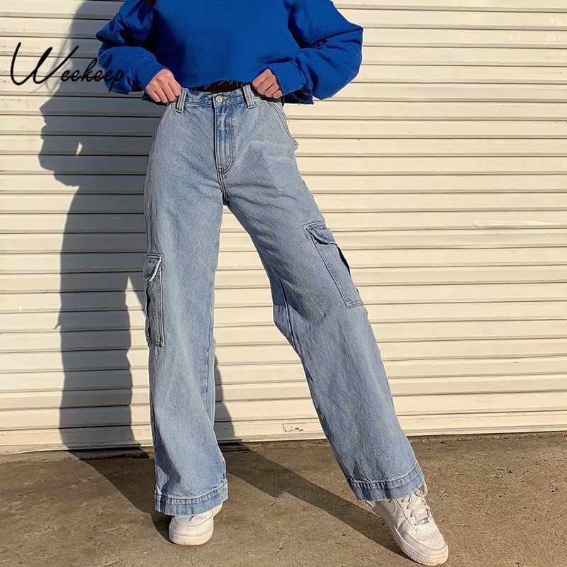 Weekeep Pockets 패치 워크 하이 웨스트 청바지 여성 Streetwear Straight Jean Femme Blue 100% Cotton Cargo Pants