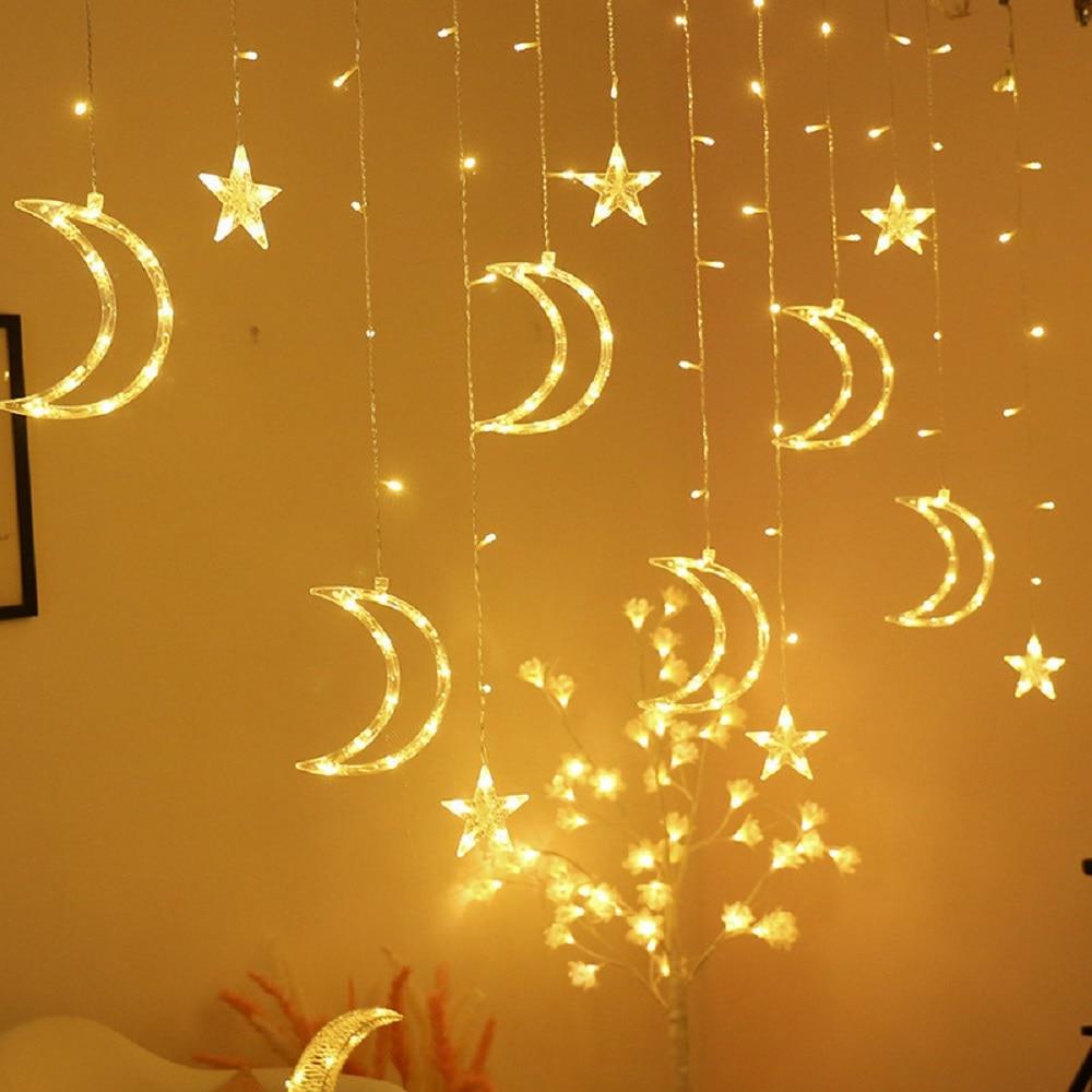Star Moon String Lights 6star+6moon Indoor Room Decoration LED Curtain Light AC Plug 220V Power Wedding Party Fairy Light Chain