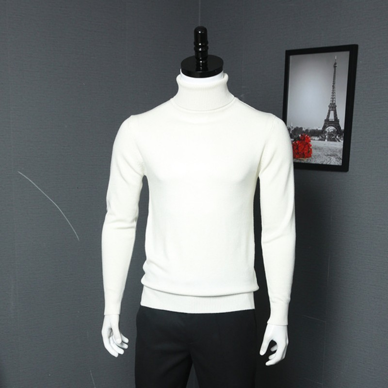 New Solid Men Sweater High Neck Thick Casual Fashion Pullovers Mens Turtleneck Slim Fit Long Sleeve Sweaters Male Autumn Clothes