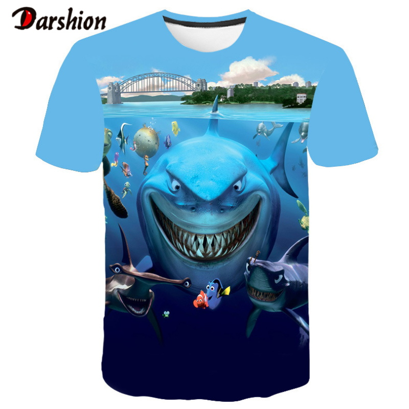 2019 Hot New Men Leisure 3D Printing T-shirt Funny Fish Print Men Hip Hop Print Tshirt Top Cool Men O-Neck High Quality Clothing
