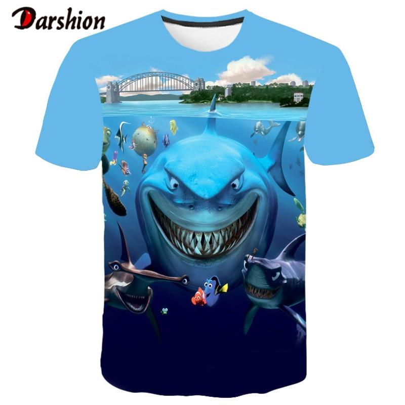 2019 Hot New Men Leisure 3D Printing T-shirt Funny Fish Print Men Hip Hop Print Tshirt Top Cool Men O-Neck High Quality Clothing