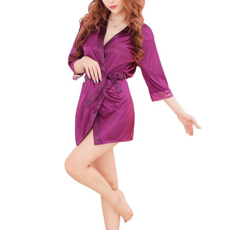 N Solid Lace Trim Patchwork Bathrobe Short Kimono Silk Satin Robes Night Bath Robe For Women Uff01 - -