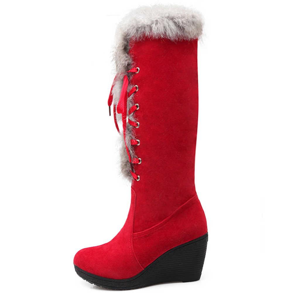 BONJOMARISA ใหม่ Elegant สูง Wedges รองเท้าผู้หญิงฤดูหนาว WARM เข่า-สูงหิมะรองเท้าผู้หญิง 2020 รองเท้าแพลตฟอร์มรองเท้าผู้หญิง