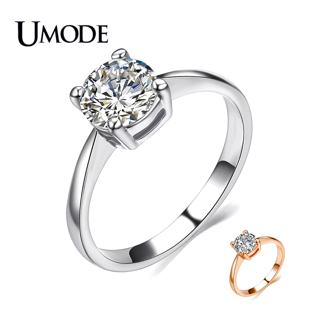 UMODE Halo Engagement / Wedding Rings For Women Fashion Rose Gold / Rhodium plated 1.25 AAA CZ  Jewelry Gift AJR0136
