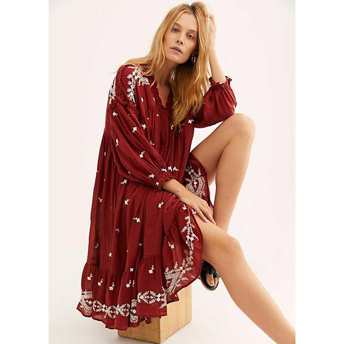 Midi Dress Women 2020 Fl Embroidery