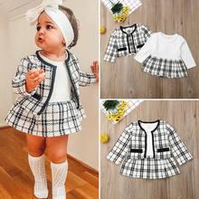 2 pezzi autunno bambini per bambina sfilata di moda Plaid cappotto Tutu abito abiti vestito bambino ragazza abbigliamento Set
