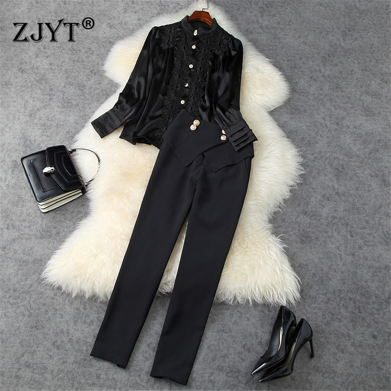 2021 Spring Runway Fashion Two Piece Outfits Women Elegant Office Lady Lace Patchwork Shirt and Trousers Suit Set Party Twinset