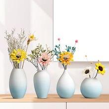 Синяя ваза для цветов цветная керамическая Минималистичная Настольная