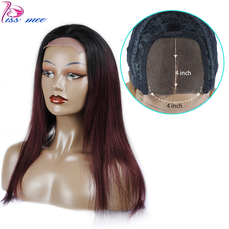 Kissmee 4*4  Lace Closure Wig Burgundy Ombre Human Hair Wigs For Women Ombre Brazilian Straight Wigs Pre Plucked And Bleached