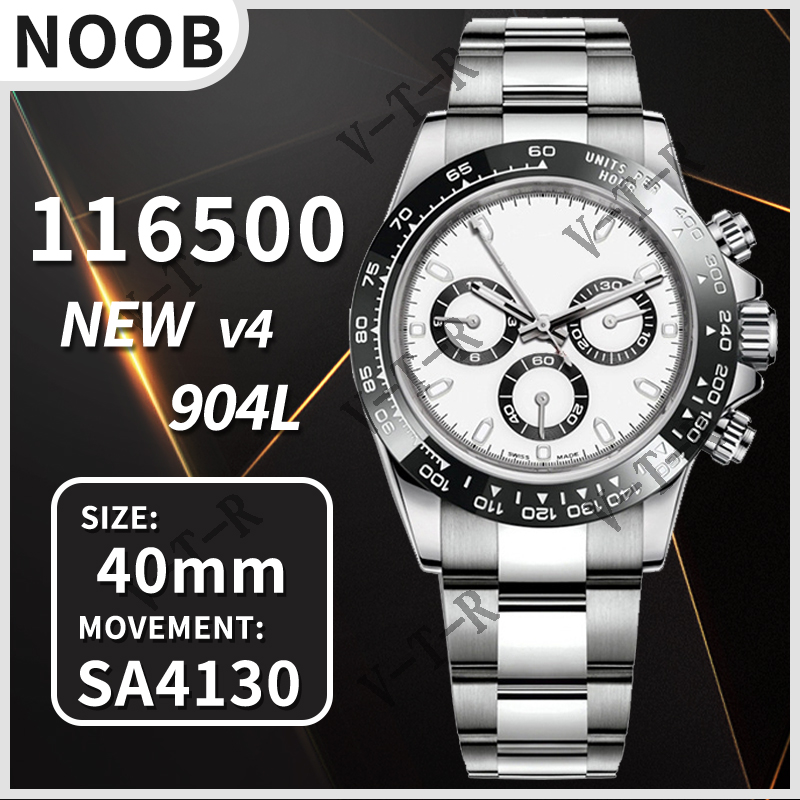 Мужские автоматические механические часы Daytona 116500 Noob V4 904L из нержавеющей стали 4130 Move Men t 1:1 лучшая версия копия хронографа