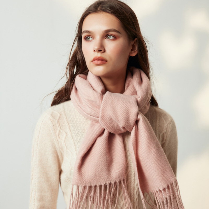 2019 Autumn Winter Female Wool Solid Color Scarf Women Cashmere Scarves Wide Lattices Long Shawl Wrap Blanket Warm Tippet