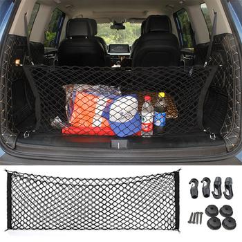 Samochodów powrót z tyłu fotel w bagażniku elastyczne stringi netto bagażnika samochodu kieszeń na Organizer sieć ładunkowa z siatki do przechowywania samochodu otrzymasz zorganizować netto 92 5cm * 42cm tanie i dobre opinie Nylon CN (pochodzenie) Pojemnik do bagażnika Torba