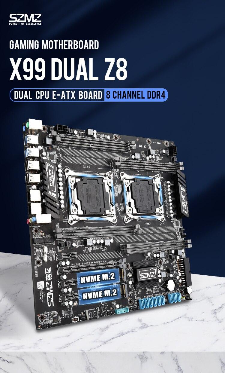 SZMZ X99 Dual CPU Motherboards Socket LGA 2011-3 motherboard support E5 2678V3,2680V3,2620V3,2650V3 5
