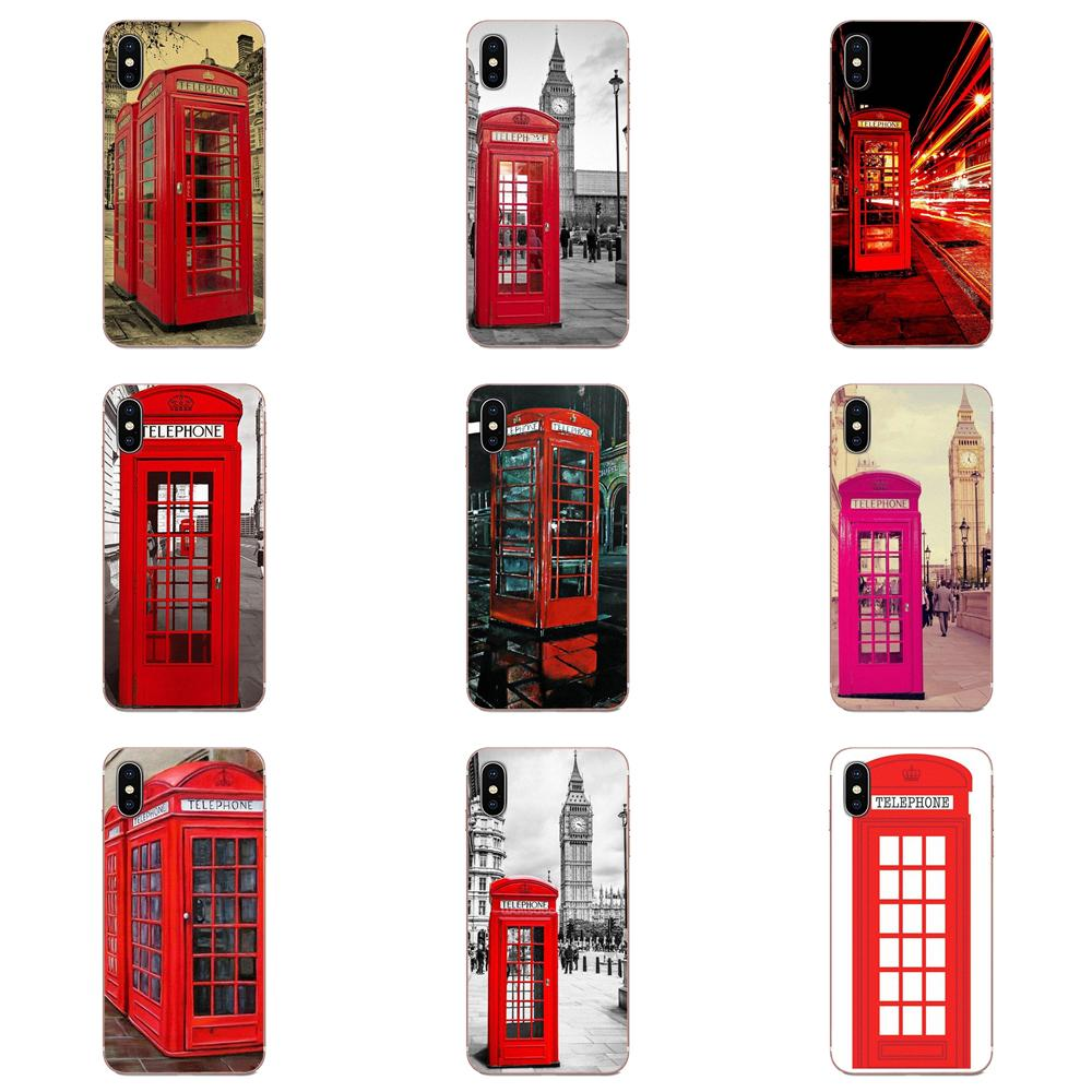 Red Telephone Booth Phone Box London For Huawei Honor Mate 7 7A 8 9 10 20 V8 V9 V10 V30 P40 G Lite Play Mini Pro P Smart