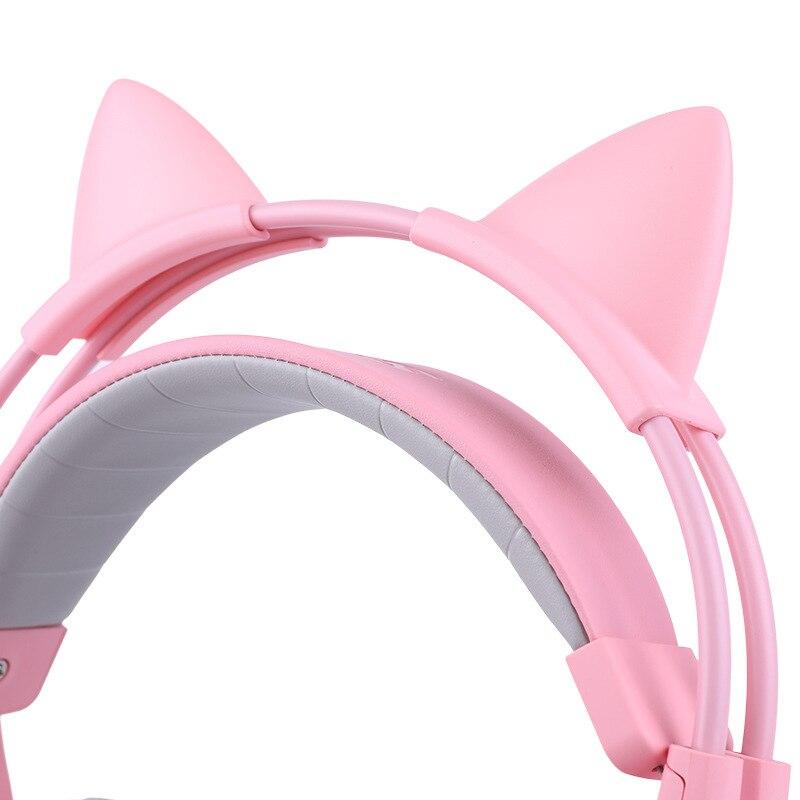 Cabeza montada 7,1 canal ancla gameing gato oreja auricular Rosa Lindo juego auriculares - 4
