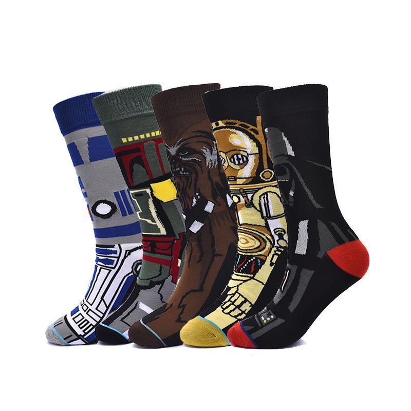 Cotton Men'S Socks Comic Movie Pattern Starwar Casual Socks For Male Women'S Socks Unisex Spring Autumn Winter Cosplay Socks