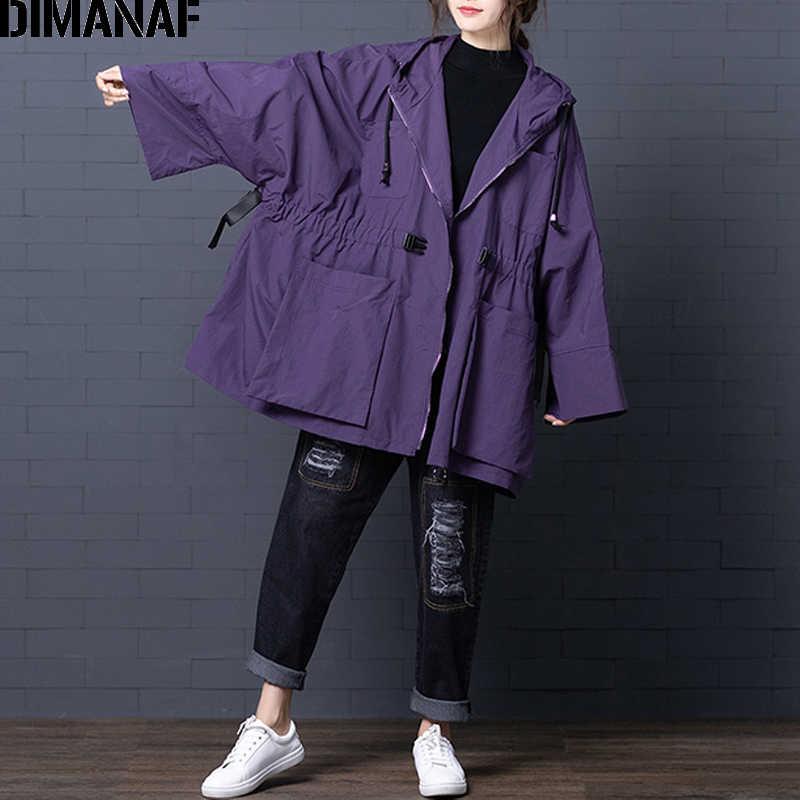 DIMANAF Frauen Bomber Jacke Mantel Große Größe 2019 Herbst Winter Vintage Weiblichen Oberbekleidung Lose Große Größe Langarm Mit Kapuze Kleidung