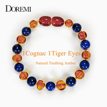 DOREMI 1Cognac 1Tiger Eyes Baby Teething Amber Bracelet Necklace for Boys Adult Beads Natural Baltic Neckace Jewelry