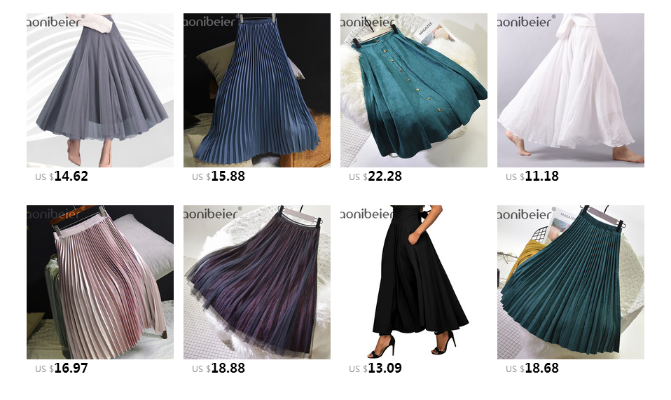 Aonibeier Fashion Women's High Waist Pleated Solid Color Length Elastic Skirt Promotions Lady Black Pink Party Casual Skirts 91