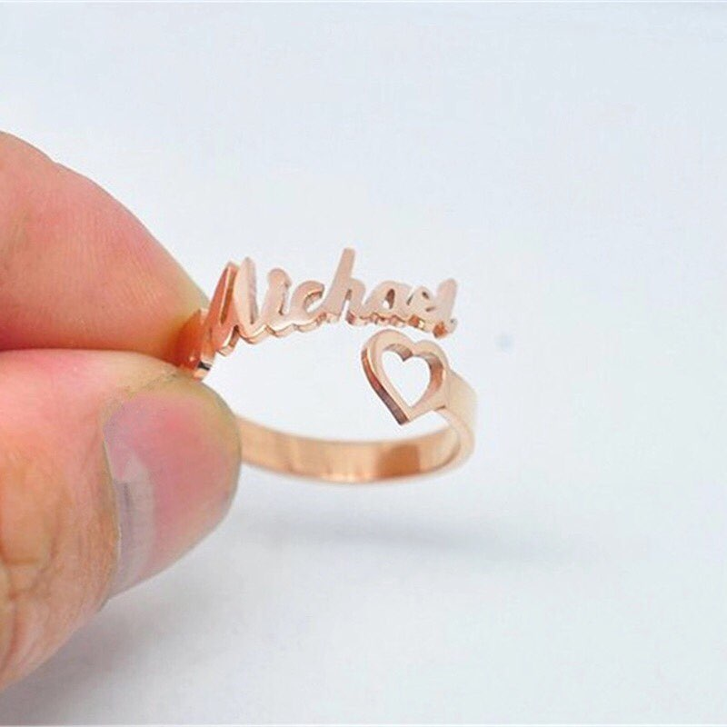 Personalized Name Rings Adjustable Date Numbers Heart Sprial Ring For Women High Quality Stainless Steel Men Jewelry Not Fade