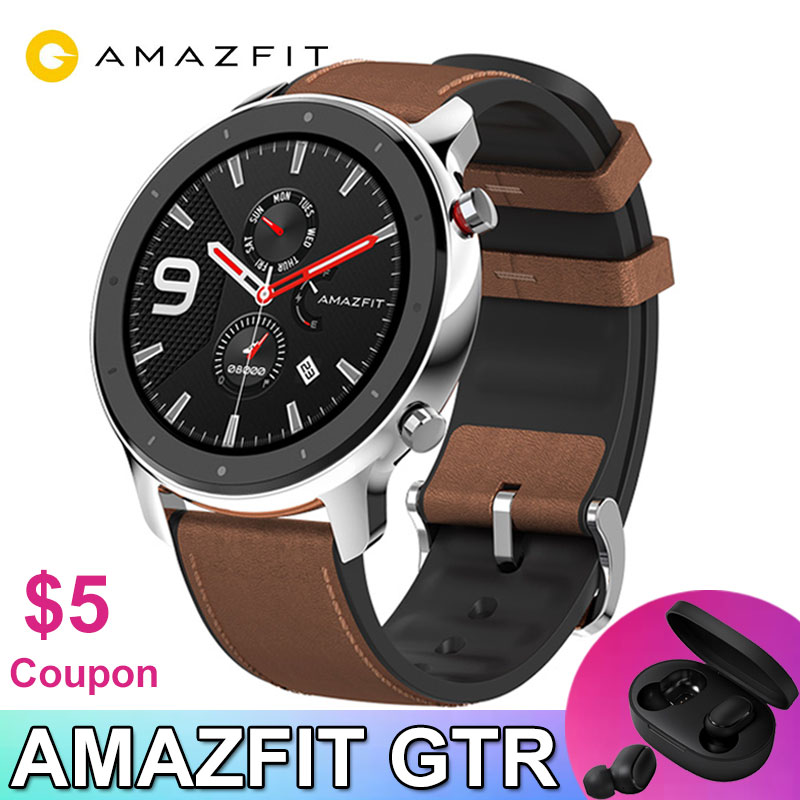 Amazfit GTR 47mm Smart Watch Xiaomi Huami 5ATM Waterproof Sports Smartwatch 24 Days Battery Music Control With GPS Heart Rate-in Smart Watches from Consumer Electronics