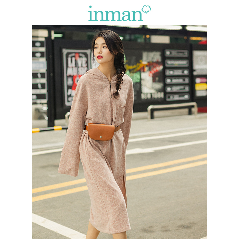 INMAN Spring Autumn Hooded Loose Drop-shoulder Sleeve Fashion Casual Sweater Style Women Dress