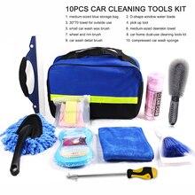 Car Cleaning Tools Kit Car Wash Tools Kit for Detailing Interiors Premium Fiber Cleaning Cloth Compressed Car Wash Sponge