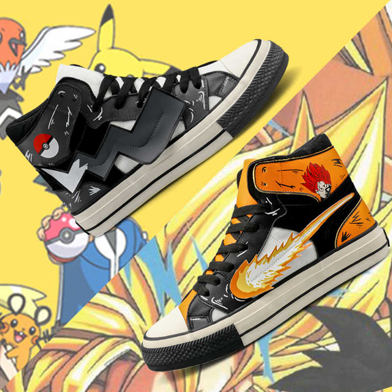 COOLVFATBO Dragon Z Bal Mannen Hoge Top Canvas Schoenen Cool Dragon Ball pikachu Pokemon Goku Vegeta Man Vulcaniseer Sneakers