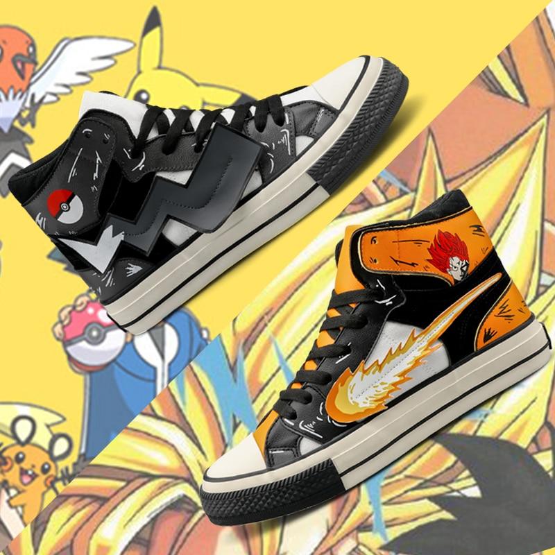 COOLVFATBO Dragon Z Ball Men High Top Canvas Shoes Cool Dragon Ball Pikachu Pokemon Goku Vegeta Man Vulcanize Sneakers