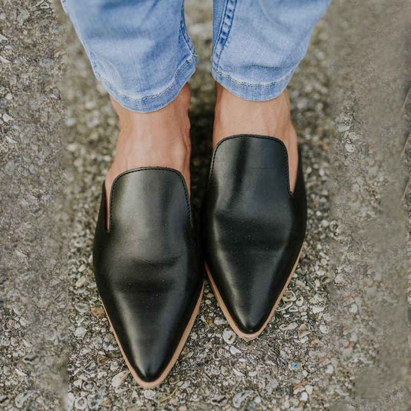 Mulher de couro chinelos de salto baixo moda mule sapatos dedo do pé apontado slides retalhos sandálias senhoras zapatos mujer 2020