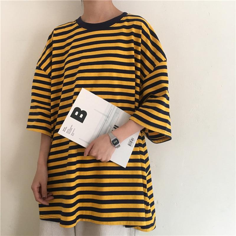 T Shirt Tops Camiseta Mujer Tee Femme Korean Clothes 2020 Harajuku Aesthetic Friends Plus Size Short Sleeve Oversized Striped