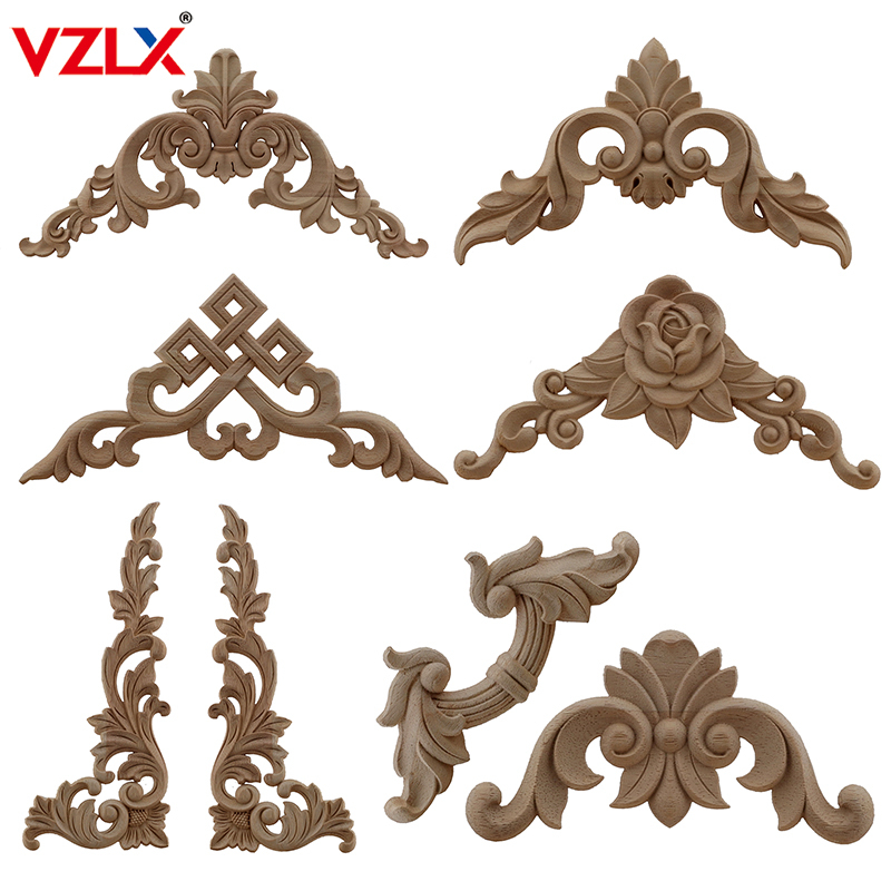 VZLX Carved Unpainted European Exquisite Long Floral Leaves Rubber Furniture Window Corner Wood Applique Onlay Wood Figurines