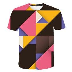 Psychedelic T shirt mężczyźni rosyjski styl Harajuku koszulki O kołnierz koszulka kreskówka 3D drukowane geometryczne Casual kolorowe mężczyźni clothin