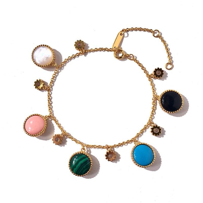 Cristal étoile Bracelet femmes lien Bracelet mode or couleur ronde bracelets à breloques pour les filles mode cadeau d'anniversaire bijoux