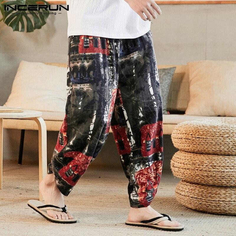 INCERUN Men Vintage Printed Pants Casual Loose Joggers Man Ethnic Elastic Waist Harem Pants Fashion Cotton Floral Trousers S-5XL