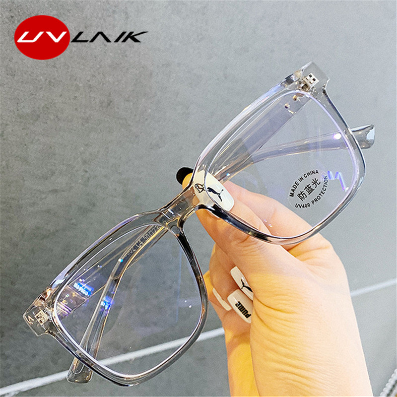UVLAIK Anti Blue Light Women's Men's Eyewear Frame Square Myopia Frames Spectacles Frames Ladies Transparent Optical Eye Glasses