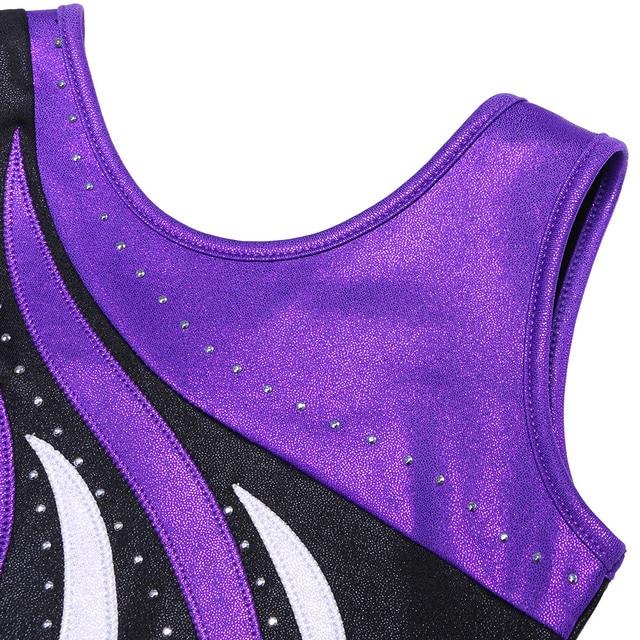 BAOHULU Mädchen Ballett Trikot Ärmellose Gymnastik Trikot Einteiliges Mädchen Schwarz Lila Streifen Professionelle Trikot für Mädchen