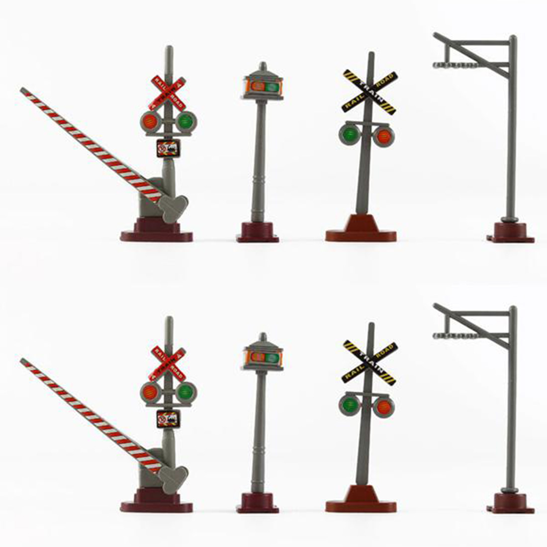 8Pcs Random Type 1:87 HO Scale Railway Scene Decoration Traffic Sign Model For Sand Table Building