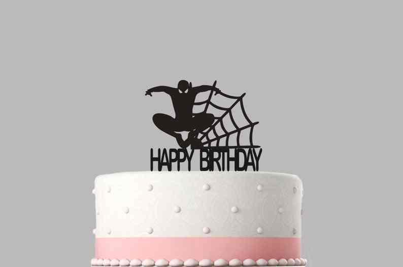 Várias cores & tamanhos. Spiderman Aniversário topo de bolo em acrílico, item De Alta qualidade, lembrança. Não-cartão de estoque