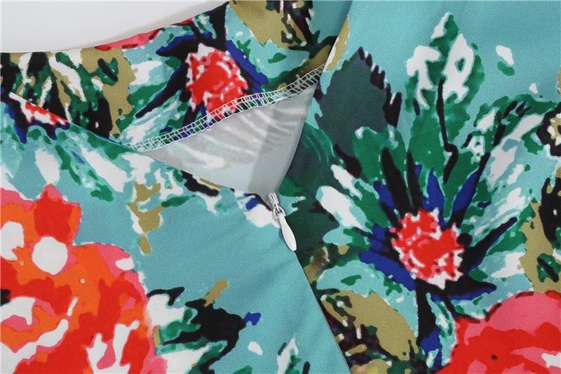 Summer Floral Print Elegant A-line Party Dress Women Slim White Short Sleeve Swing Pin up Vintage Dresses Plus Size Robe Femme 139