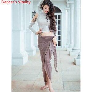 Image 5 - נשים בטן ריקוד בפועל אימון בגדי מזרחי הודי ריקוד סקסי לגזור למעלה ארוך חצאית שלב ללבוש Perforamnce תלבושות