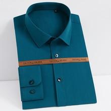 Shirts Stretch Formal Solid-Dress Bamboo-Fiber Business Long-Sleeve Standard-Fit Men's