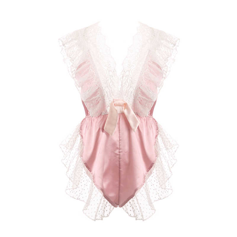 Sexy Mousse Japanse Blauw Roze Sexy Dames Zomer Dunne Kant Ruches Diepe V Losse Sexy Bodysuit Corset Bodem Gesp Een size