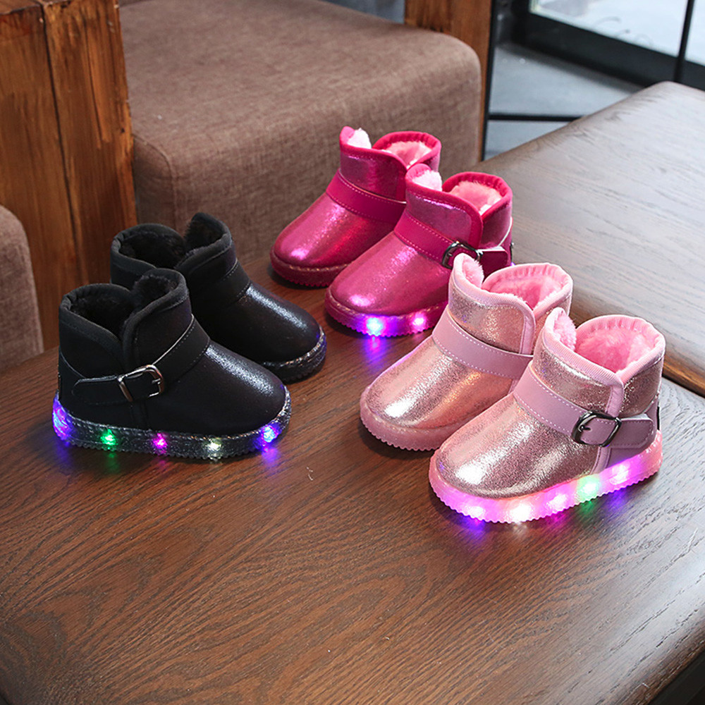 Toddler Girl Boots Kids Shoes Children Baby LED Light Up Luminous Sneakers Winter Warm Snow Boot Botas Mujer Invierno 2019