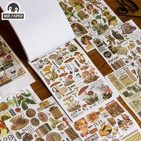 mr paper 2 design 50 pcs periodico diario ins washi adesivos livro para criancas presente